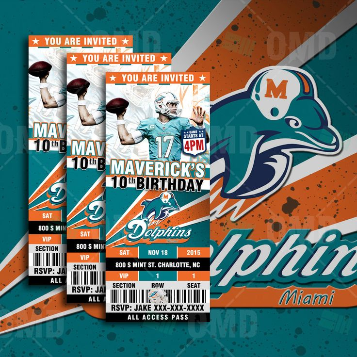 "2.5x6"" Miami Dolphins Sports Party Invitation, Sports Tickets Invites, Football Birthday Theme Party Template by sportsinvites"
