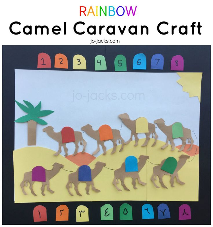 Rainbow Camel caravan craft for kids. For teaching about colors, numbers, Arabic,  camels, and desert. حرفة الجمل