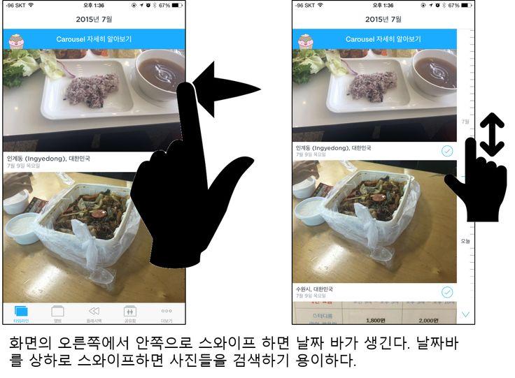모바일상 UX의 진화. 기존의 타임라인 형태의 모바일상 사진첩들은 스크롤바가 존재하지 않아 일일이 사진을 검색하기가 쉽지 않았다. 하지만 Carousel앱에서 사진을 관리할 때 유용한 점은 화면의 오른쪽에서 왼쪽으로 스와이프 할 시에 스크롤바가 생긴다는 점. 스와이프로 만들었다 없앴다 할 수 있기 때문에 모바일상 작은 화면으로도 사진을 검색하고 관리하기에 유용한 경험을 가져다 준다.