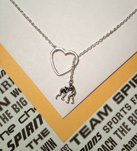 Wrestling charm and heart, silver, lariat necklace, handmade jewelry on Etsy, $19.75