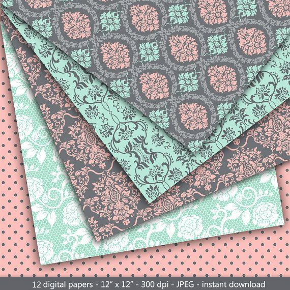 Damask digital paper: Mint and Pink Damask with by MashaStudio