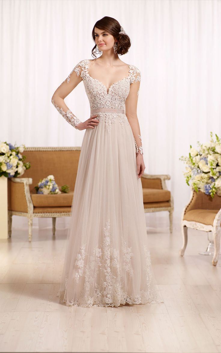 Popular Illusion lace wedding dress with tulle skirt