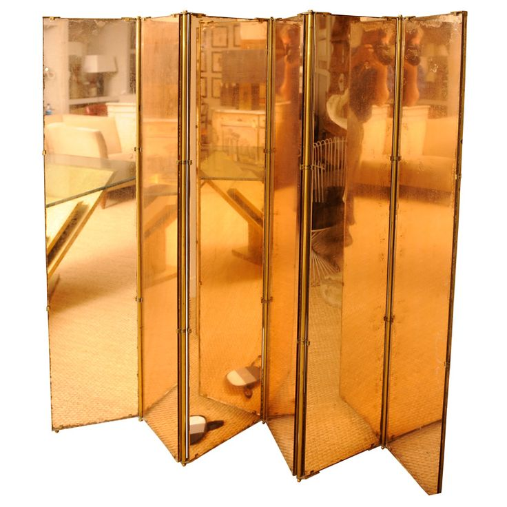 anonymous six panel peach mirror folding screen with bronze frame 1940s