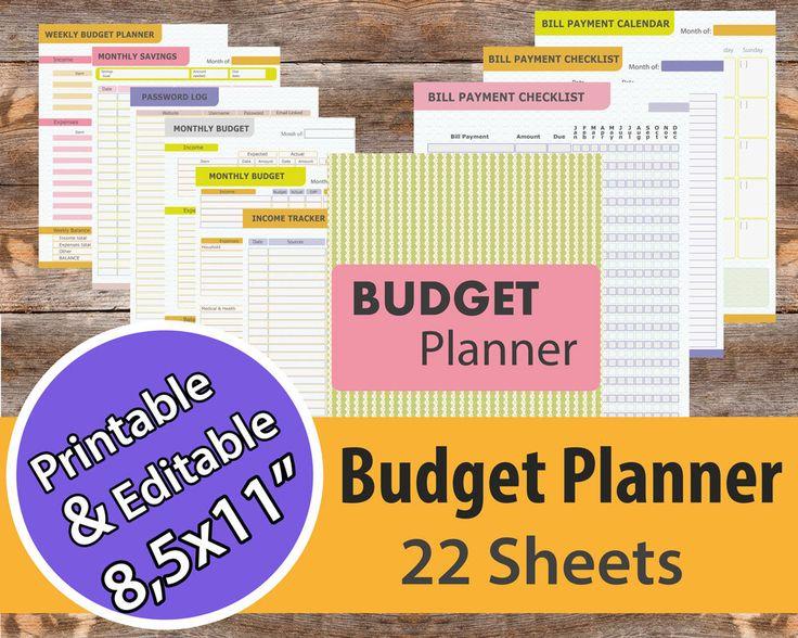 Budget Planner, Financial planner, Bill organize, Bill planner, Cash Tracker, Money Management, Bill Organize, Budget planner book by AllPrintableDesigns on Etsy https://www.etsy.com/listing/229992142/budget-planner-financial-planner-bill