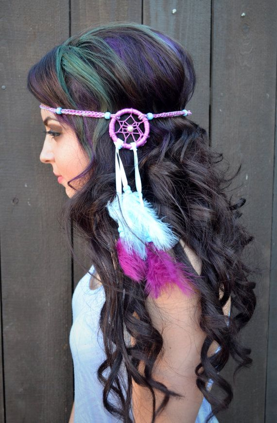 Dreamcatcher Feather Headband - Purple Blue Feather Dream Catcher Headband - Hippie - Bohemian - Festivals - Raves