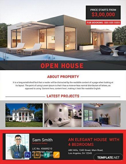 Elegant Open House Flyer Template Free PDF - Word   PSD ...