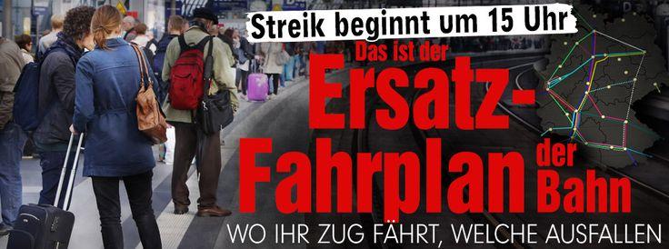 So läuft der Bahn-Streik - Bahn-Streik ab 15 Uhr: 66 Stunden Chaos? http://www.bild.de/geld/wirtschaft/bahnstreik/so-laeuft-der-bahn-streik-40629722.bild.html Routes: http://www.bahn.de/p/view/mdb/bahnintern/startseite/bereitschaft/mdb_186927_vorlage_april15_bersicht_ersatzfahrplan_streik_fernverkehr.pdf