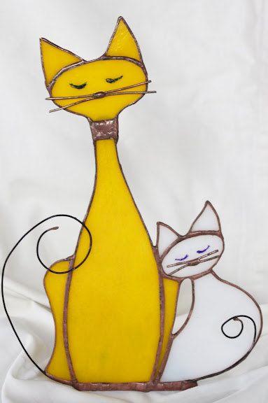 Vidrieras gatos ornamento de pie libre con por GabrielleJustine