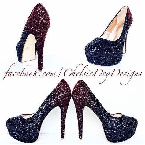 Burgundy Glitter High Heels, Red Black Ombre Platform Prom Pumps #platformhighheelsblack