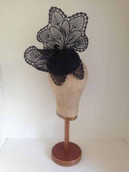"""Black boned vintage lace sculpture on black silk 4"""" cocktail button by Murley & Co Millinery #HatAcademy #millinery"""