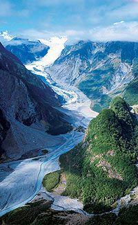 Image Source: Tourism New Zealand. Arial view of Fox Glacier, West Coast, New Zealand