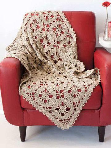 Vintage-looking lace crochet afghan
