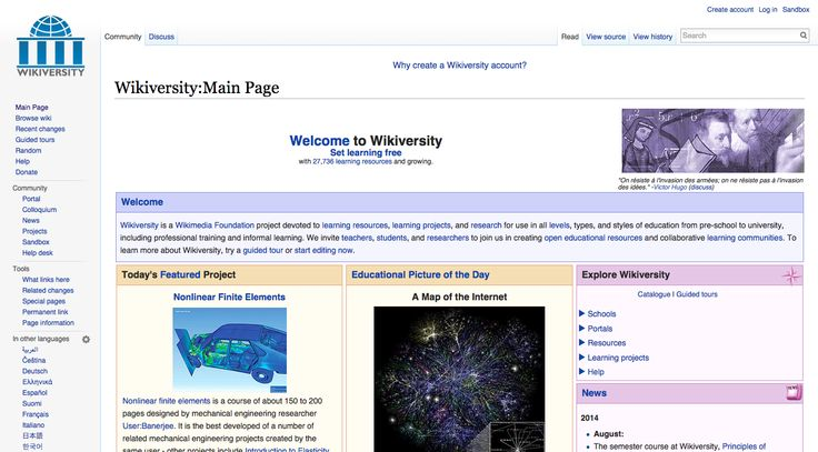Wikiversity is a Wikimedia Foundation project devoted to learning resources, learning projects, and research for use in all levels, types, and styles of education from pre-school to university, including professional training and informal learning.