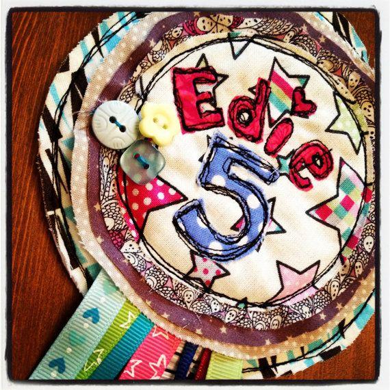 Gorgeous Bespoke Name and Age Rosettes by MilkyDashels on Etsy, £12.50