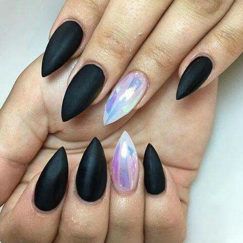 Matte black stiletto nails with holo detail - Best 25+ Goth Nails Ideas On Pinterest Goth Nail Art, Gothic