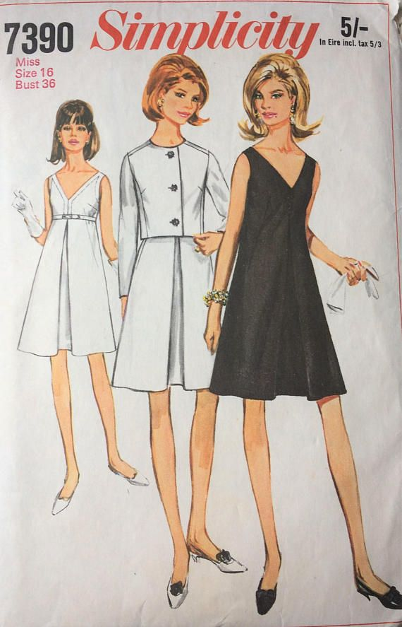 Simplicity 7390 1960s Dress And Jacket Sewing Pattern Inverted