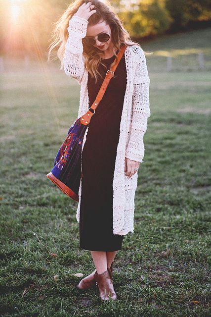 black midi dress, long beige cardigan and leather boots // IMG_9533 by sydneypoulton1, via Flickr