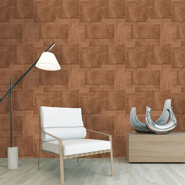 Realistic copper panelling wallpaper from the Hit The Road Collection by Galerie - HT17190R #galerie #homedecor #wallpaper #wallcovering #interior