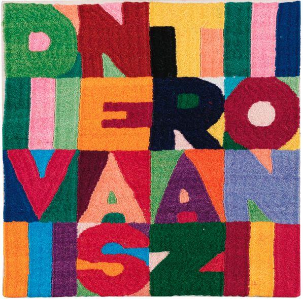 By Alighiero Boetti (1940-1994), 1989, Divine Astrazioni, embroidery.