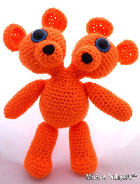 Crocheted Two Headed MutaTED™  Orange by MojosDelights on Etsy