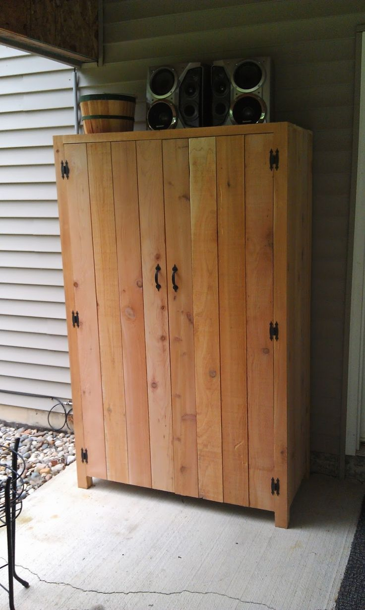 Fantastic Outdoor Cedar Storage Cabinet With Black