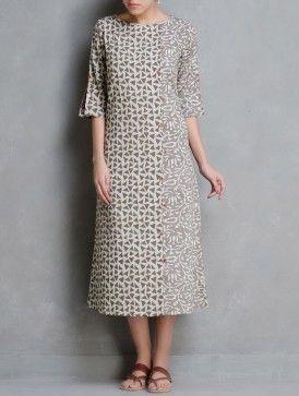 Kashish-Ecru Dabu Printed Button Detail Cotton Dress by Indian August