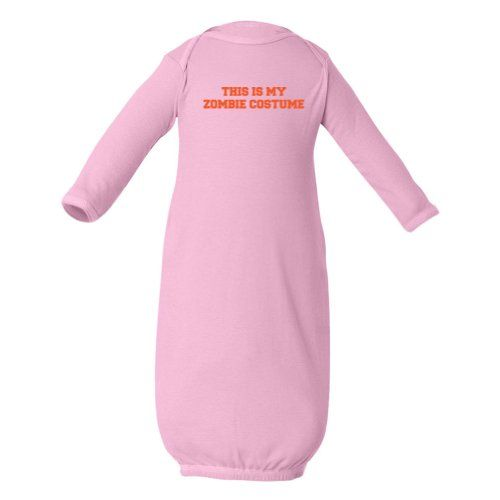 Zombie Underground This Is My Zombie Costume Baby Long Sleeve Gown (Pink Newborn) ...