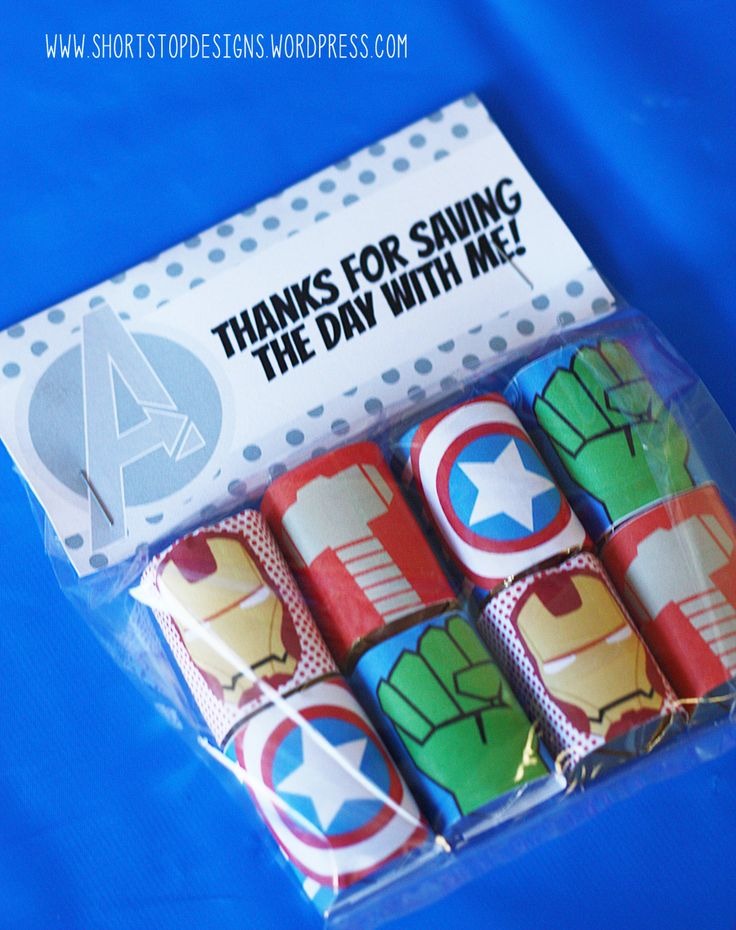 "Avengers Birthday Party Printables. Avengers Party Favors. ""Obrigado por salvar o dia comigo"""