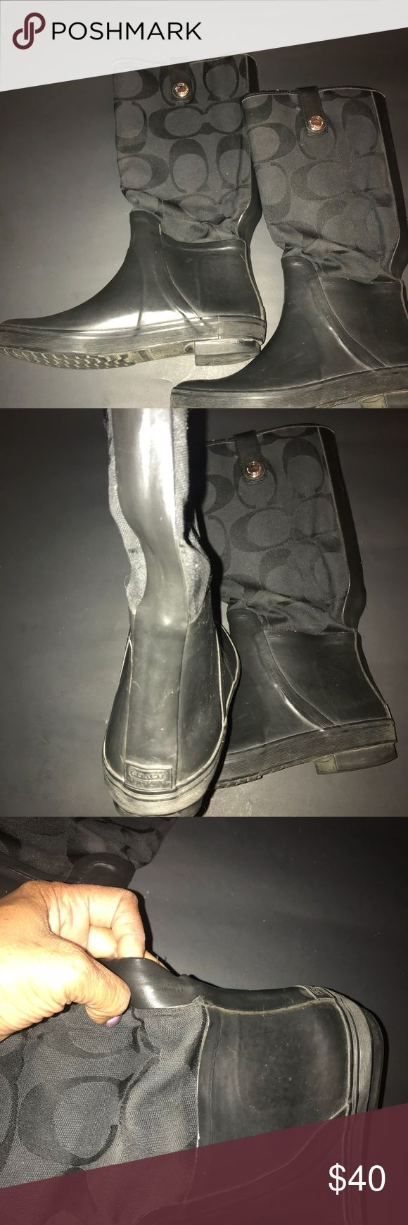 Coach Rain Boots 🌦🌧⛈ Black Authentic Signature Rain Boots, VUC, plenty of life left😁 Coach Shoes Winter & Rain Boots
