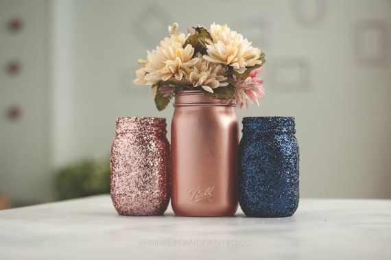 Set of 3 Pink and Navy Blue Wedding Decor Centerpiece Vases or Home and Office Decor Organizing Jars