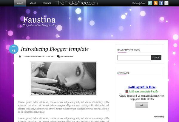 Faustina 2013 Free Blogger template - Thetricksfree