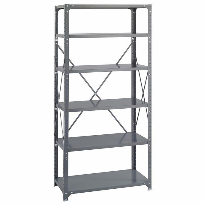 "Safco 6-Shelf Shelving Rack | 36"" x 18"" x 75"" | Dark Gray"