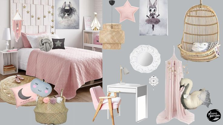 Stella's bedroom: blush, gold and grey