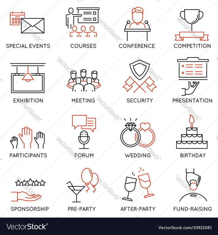 set of 16 thin icons related to event management event service and special event organization Mono line pictograms and infographics design elements - part 2. Download a Free Preview or High Quality Adobe Illustrator Ai, EPS, PDF and High Resolution JPEG versions.