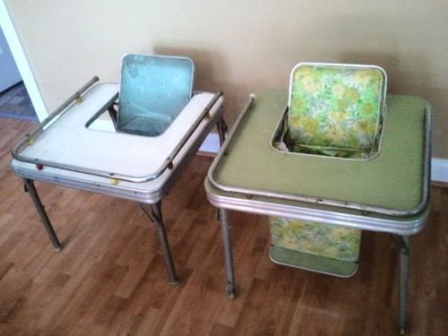 Two 2 1950 S Chrome Vinyl Baby Child Feeding Chair Table