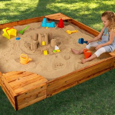 The KidKraft Backyard Sandbox gives kids a perfect place to build sandcastles, dig for treasure and play with all of their favorite sand toys.Age Range: 2-8