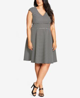 City Chic Trendy Plus Size Chevron Fit & Flare Dress