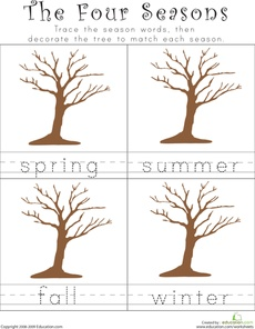 Seasons Worksheet...Have students add to the trees according to the season (i.e. green leaves, apples, blooming flowers, or ice/snow)- use for education cube seasons game
