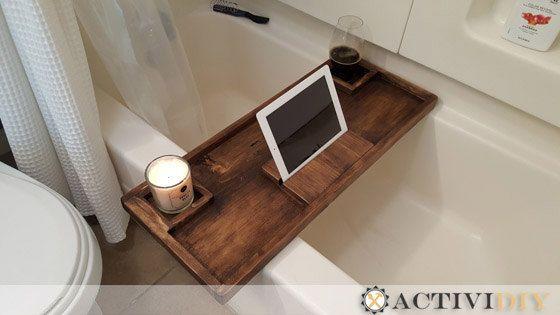 Wooden Rustic Bathtub Caddy Tray by ActiviDIY on Etsy