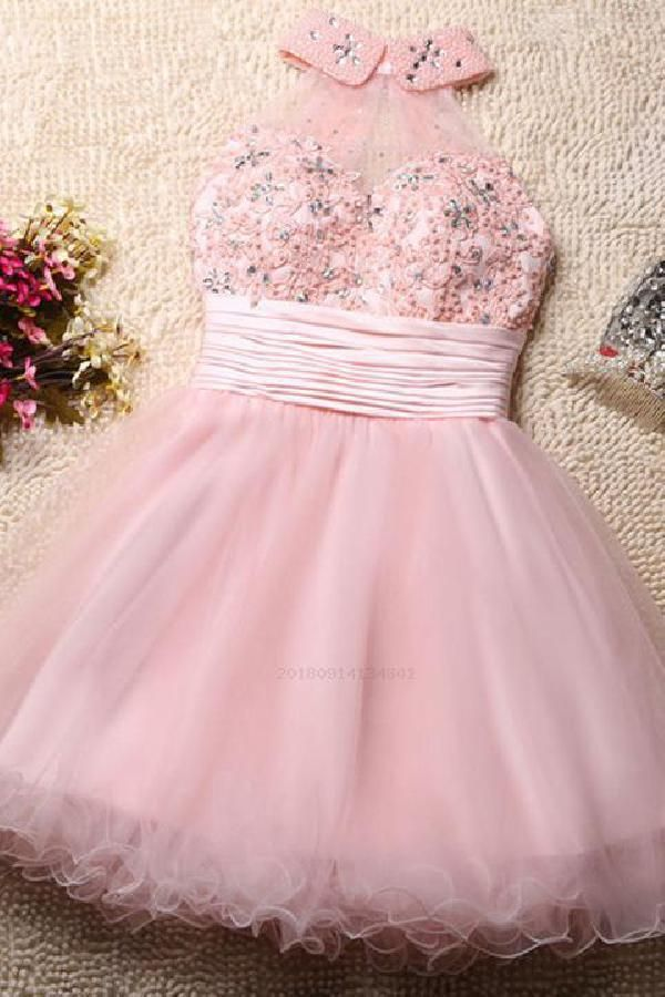 Heißer verkauf schöne partykleider kurz, open back partykleider, high neck partykleider, rosa partykleider