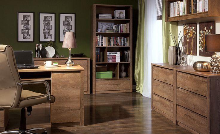 Biuro i gabinet MONTI, dąb lefkas  Meblami kolekcji Monti można zaaranżować pokój dzienny, zestawiając ze sobą szafki lub regały, czy tez dostawiając biurko, przygotować wygodne miejsce do pracy. Warto zwrócić uwagę na zastosowanie małych otwartych półek w komodach, które łącza kilka funkcji w jednej bryle.