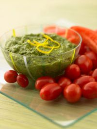 Lemon #Pesto Dip. Serve with Red #Pepper and Cherry #Tomatoes.
