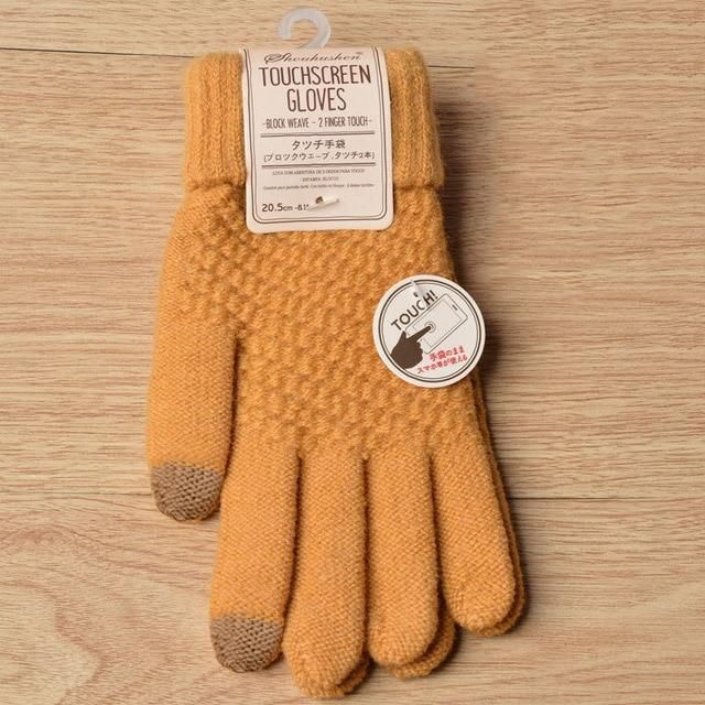 WOMEN TOUCH SCREEN GLOVES LADIES KNITTED WOOLY WINTER WARM FULL FINGER MITTENS