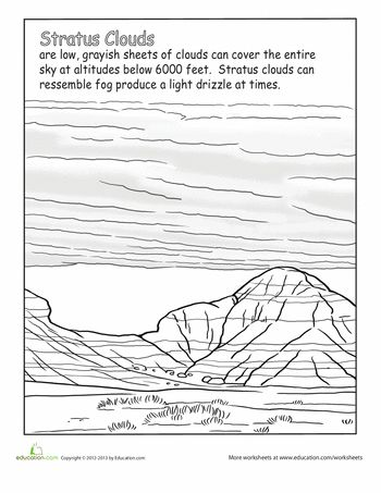 Worksheets: Stratus Clouds.  K is obsessed with clouds right now.