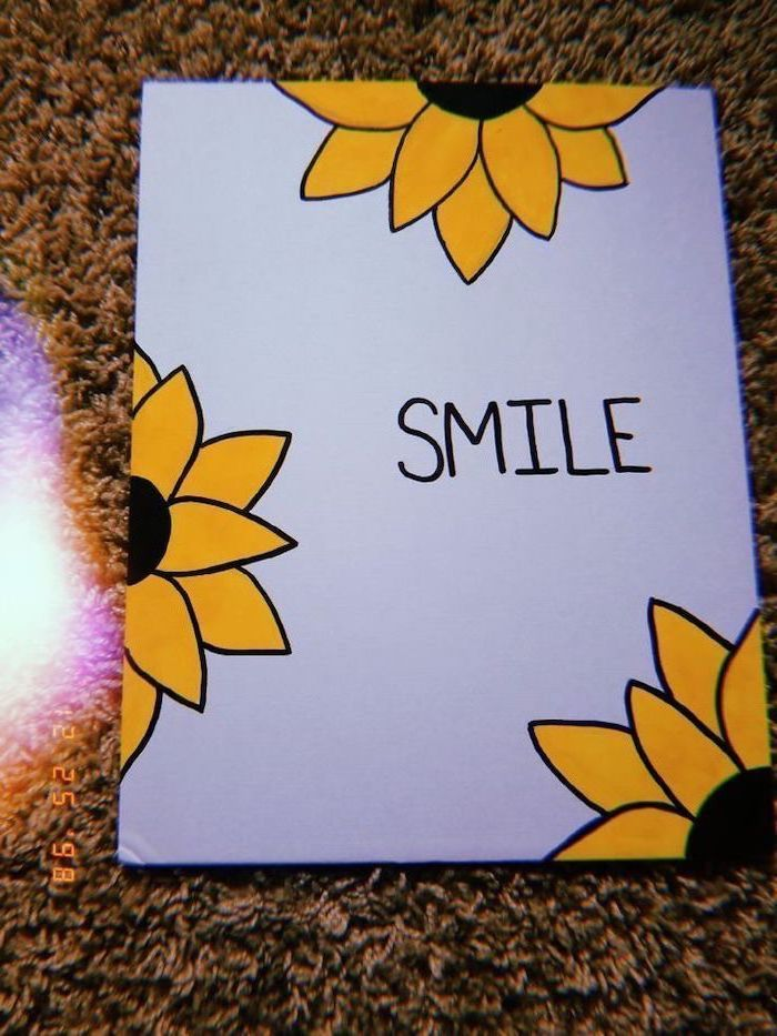 Smile Written In Black On White Background Easy Animals To Draw Surrounded By Yellow Sunflowers Canvas Art Quotes Simple Canvas Paintings Mini Canvas Art