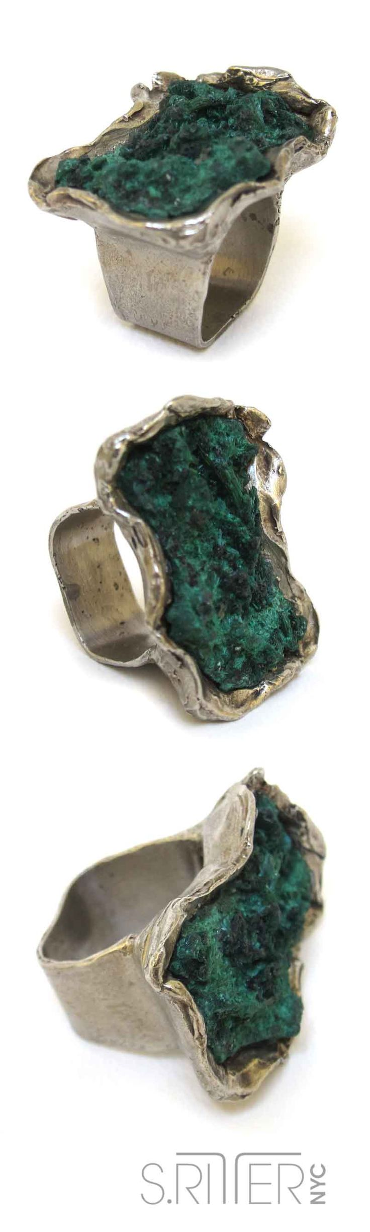 rich green malachite. to go with the orange, yellow and brown days of fall. || raw natural stone rings || SRitterNYC.com