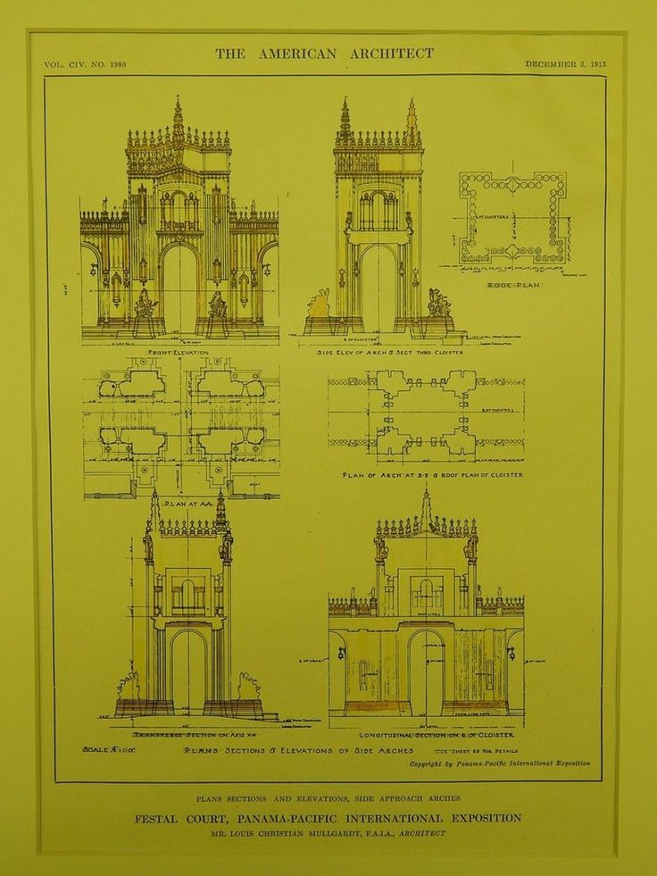 Arches: Festal Court, Panama-Pacific Exposition, San Francisco, CA, 1913.Louis Christian Mullgardt