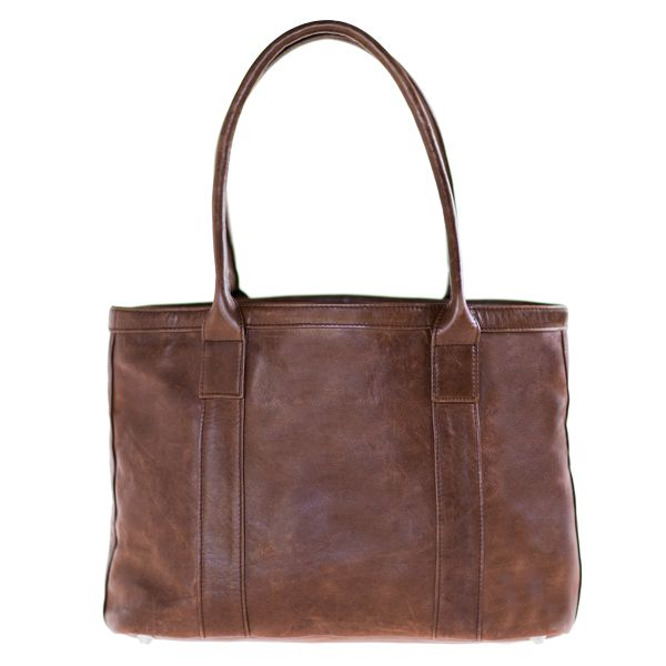 Stone waterproof lining Zipped inner pocket Cell phone and money pocket Zipped bag closure Double carry handles Flat bottom with metal feet underneath for protection Hand crafted in South Africa Finest hand selected distressed bovine leather Fits any tablet Available in brown H 26cm x W 45cm x 15cm gusset