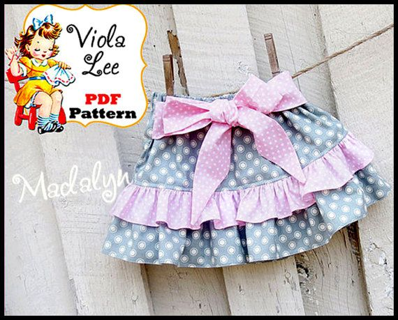 Save with pattern Bundles! Use Coupon Code at checkout. 3+ patterns 15% off.... Code = Bundle15 5+ patterns 20% off.... Code = Bundle20 10+ patterns 30% off.... Code = Bundle30  You can also find me here: https://www.violaleepatterns.com  Madalyn...... Girls ruffle skirt pattern for Infants & Toddlers. * Pattern Sizes included: 6/12m- 18m-24m-2t-3t-4-5-6-7-8  The skirt has a simple elastic waist for easy fit, no buttons or zippers! Bow can be tied in front or back. Mix & match fabric for a…