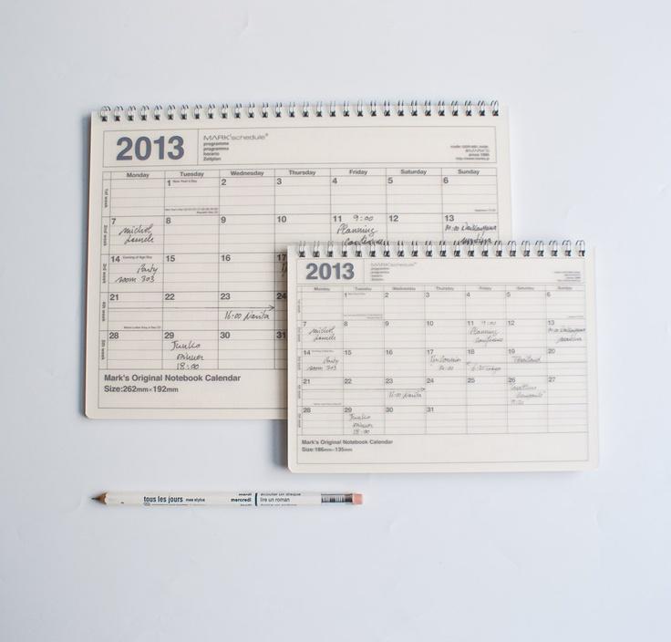 Calendar Notebook Design : Mark s original pocket notebook calendar graphic